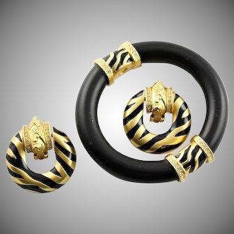 Super Elizabeth Taylor Zebra Bracelet & Earrings Set