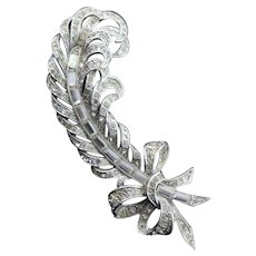 Outstanding Sterling Silver & Rhinestone Feather Brooch