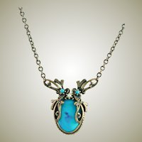 Bohemian Style Turquoise & Antique Gold Colored Chain Necklace