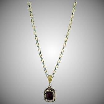 Pretty Costume Purple Pendent Chain Necklace