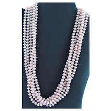 Five Row Light Pink Glass Bead Necklace