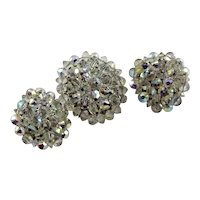 Marked Hobe`Crystal Bead Brooch set
