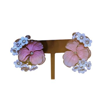Signed Vandome Pink Acetate Clip Earrings