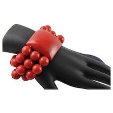 Fantastic Cherry Red Bakelite 1940's Bracelet