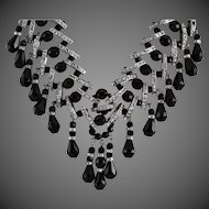 Beautifully Crafted Black Crystal & Silver Rhinestone Spacers Necklace