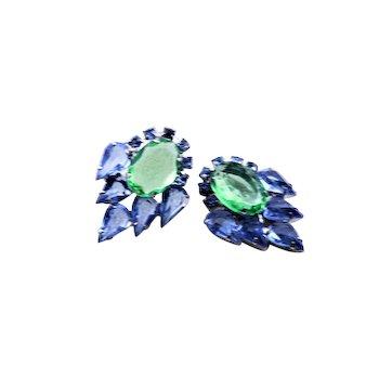 Open Back Green & Blue Rhinestone Earrings