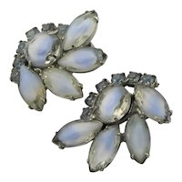 Beautiful Givre & Blue Rhinestone Earrings