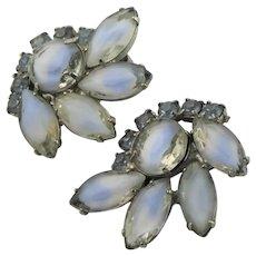 Beautiful Givre & Blue Rhinestone Earrings