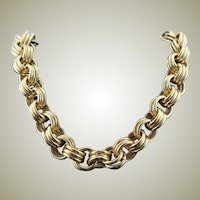 Monet Large Chain Gold Colored Necklace