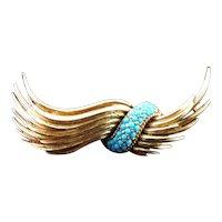 Signed Ciner Lucite Turquoise & Golden Brooch