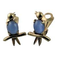 Adorable Little Moonstone Bird Earrings