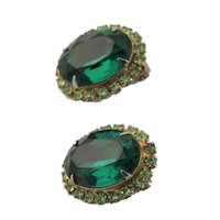 Signed Kramer of New York Green Stone Earrings