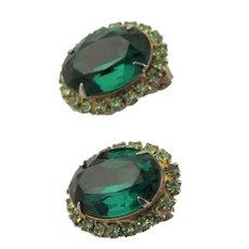 Signed Kramer of New York Green Stone Earrings