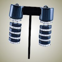 Vintage Spectacular 1960's Long Black Lucite & Clear Crystal Earrings