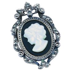 Black Onyx & Mother Of Pearl Cameo Sterling Pendent/Brooch