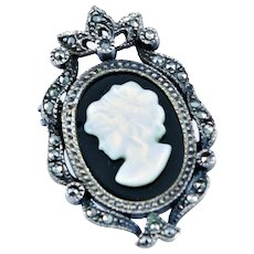 Onyx & MOP Cameo In Sterling Pendent/Pin
