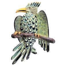 Spectacular Coro Eagle Enamel Brooch
