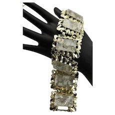 Mid Century Confetti Lucite Tile Bracelet