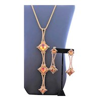 Juliana Gold & Amber Colored Lariat Necklace Set