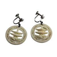 Japanese Carved Bone Pagoda Earrings