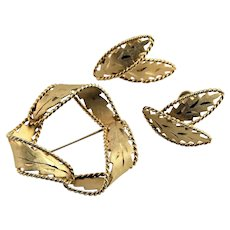 Marked TT Gold Filled Brooch & Earrings