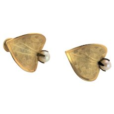 12K Gold Filled Leaf Shaped Earrings