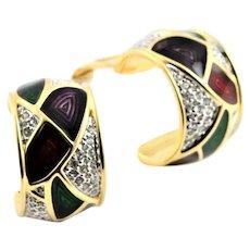 Marked Swarovski Colorful Enamel & Clear Stone Earrings