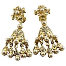 KJL Golden & Crystal Chandelier Earrings
