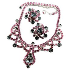 Beautiful Pink & Blue Rhinestone Necklace Set