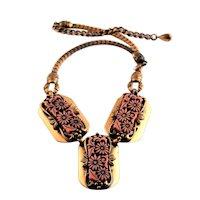 Selro Asian Lucite & Copper Necklace