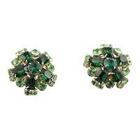 Large Green Rhinestone Clip Earrings