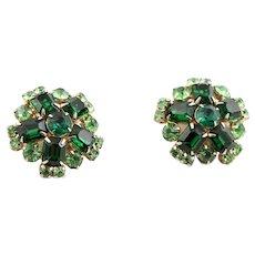 Large Green Rhinestone Clip Earrings