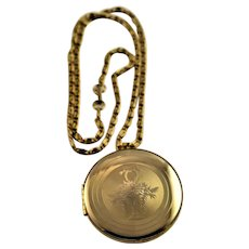 Gold Plated Large Locket & Chain