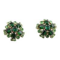 Beautiful Green Rhinestone Clip Earrings