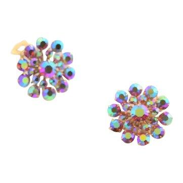 Red Aurora Borealis Rhinestone Earrings