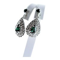 Signed Celebrity Emerald Green & Clear Rhinestone Earrings