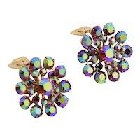 Deep Red Rhinestone Clip Earrings