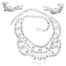 Spectacular 1950's Rhinestone Necklace Set