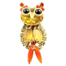 Vintage Small Juliana Owl Brooch