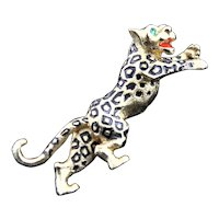 Leaping Leopard Gold Plated Brooch