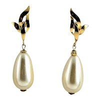 Signed Richelieu White Glass Pearl Earrings