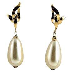 Signed Richelieu White Glass Pearl Earrings