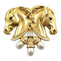 Elizabeth Taylor Large Horses Large Brooch