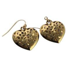 14 Karat Gold Die Cut Heart Earrings
