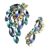 Juliana Blue & Turquoise Brooch & Earrings Set
