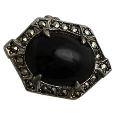 Vintage Art Deco Sterling Onyx & Marcasite Ring