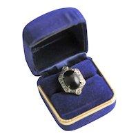 Antique Art Deco Black Onyx & Marcasite Ring