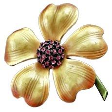 Beautiful Har Enamel Flower Brooch