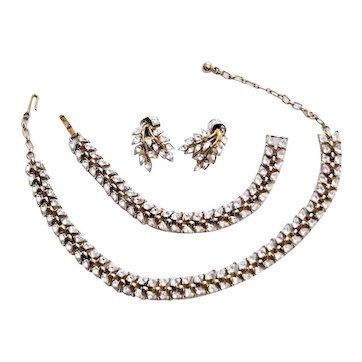 Trifari Marked Three Piece Set In Gold Plate