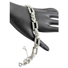 1930's Art Deco Crystal & Silver Plate Bracelet